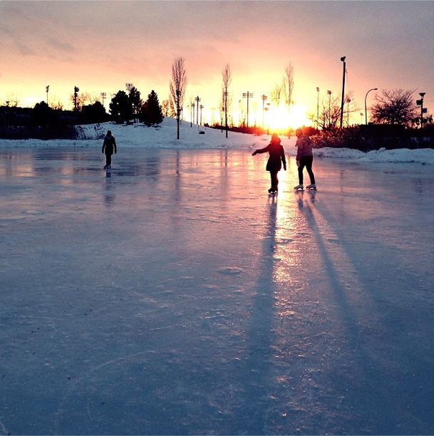 Sunset ice skating at Jarry Parc
