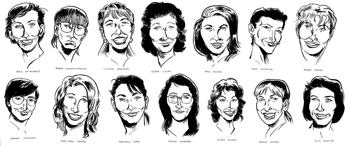 14, the Montreal Massacre victims, illustration by Evan Munday